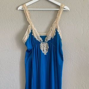 Vintage Blue Nightgown Dress with Lace
